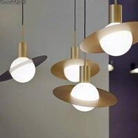 Nordic desginer Глобальный подвесной светильник спальня повесить фонари гладить абажур Лофт светодио дный лампа из металла кухня зал столовой чех