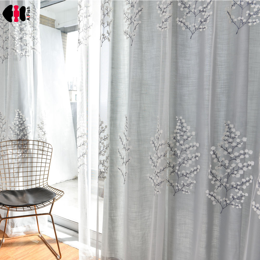 Cartoon Trees Curtains For Bedroom Cotton Linen Towel: Aliexpress.com : Buy Pastoral Tree Mesh Embroidered