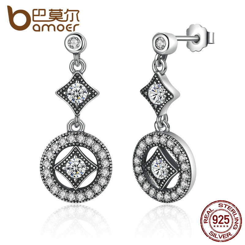 BAMOER Stunning 925 Sterling Silver with AAA Zircon VINTAGE ALLURE Drop Earrings for Women Fashion Jewelry Engagement PAS492 цена