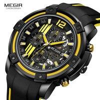 Megir Military Sport Quartz Watches Men Top Brand Luxury Army Chronograph Wrist Watch Man Relogios Relojes Masculino 2097 Yellow