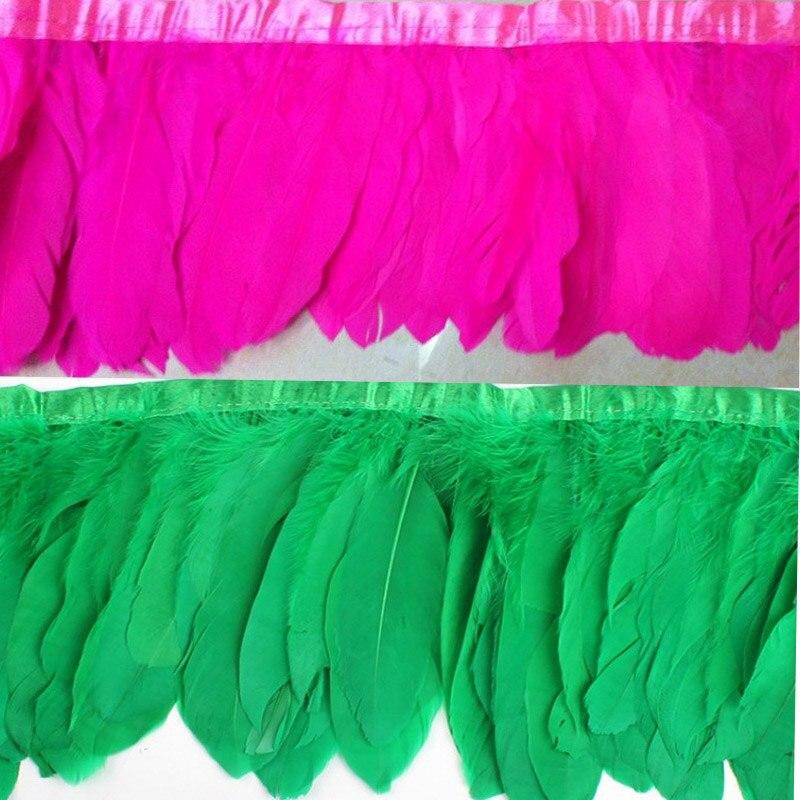 2 meter / los farbe gänsefedern 15 cm farbe federn gans rand bühne - Kunst, Handwerk und Nähen - Foto 2