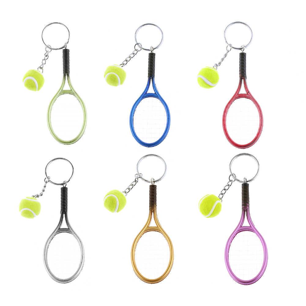 新しい6色ミニテニスラケットボールキーホルダーキーリングバッグアクセサリーチャームギフト女性ファッションアクセサリー