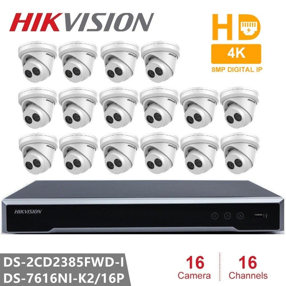 Hikvision 16CH 4K POE NVR Kit CCTV Sicherheit System 16PCS Outdoor 8MP Netzwerk Revolver IP Kamera POE P2P video Überwachung System