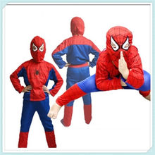 Wholesale:150pcs/lot spider man costume spiderman suit spider-man costume child spider man S/M/L Mix size C64(China)