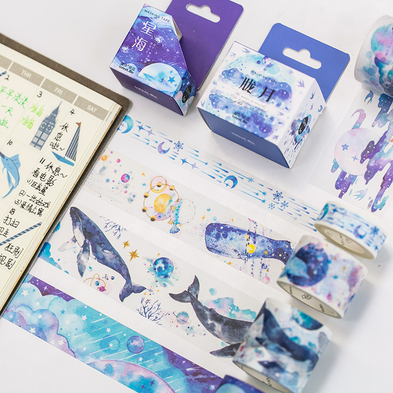 Big Whale Sea Washi Tape DIY Decoration Scrapbooking Planner Masking Tape Adhesive Tape Label Sticker Stationery