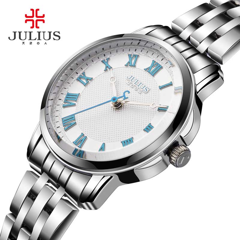 Julius Casual Stainless Steel Couple Quartz Watches women lover couple 30m waterproof wristwatches Reloj Masculino