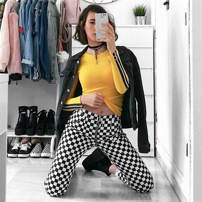 InstaHot Plaid Zipper Checkered Straight Pants Women Fashion Casual Slim Pockets Long Pants Black White Pencil Pantalon Femme 4