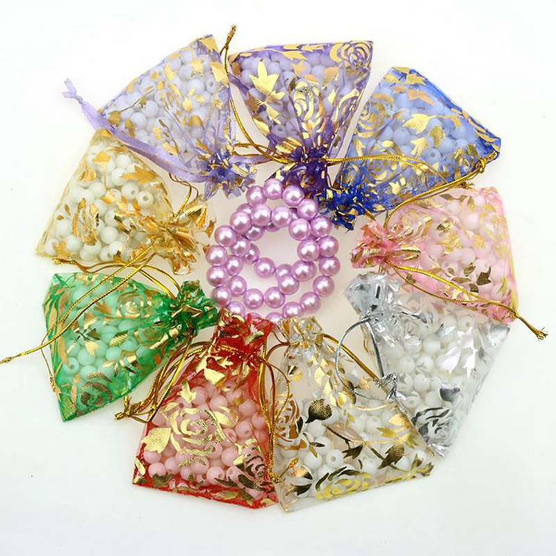 50Pcs/lot 7X9cm 9X12cm 11X16cm 13X18cm Gold Love Heart Rose Organza Bag Wedding Voile Gift Christmas Bags Jewelry Packing