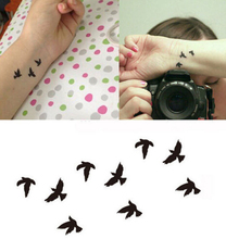 2pcs Fashion Temporary Tattoos Flying Birds Flash Fake Indie Waterproof Totem Removable Body Art Tattoo Sticker Paper