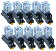 10 مجموعات LY2NJ مرحل الطاقة مصغرة مرحل DPDT 8 دبابيس 10A 240VAC LY2 HH62P LY2 JQX 13F مع PTF08A SockeBase 12 فولت 24 فولت 36 فولت 110 فولت