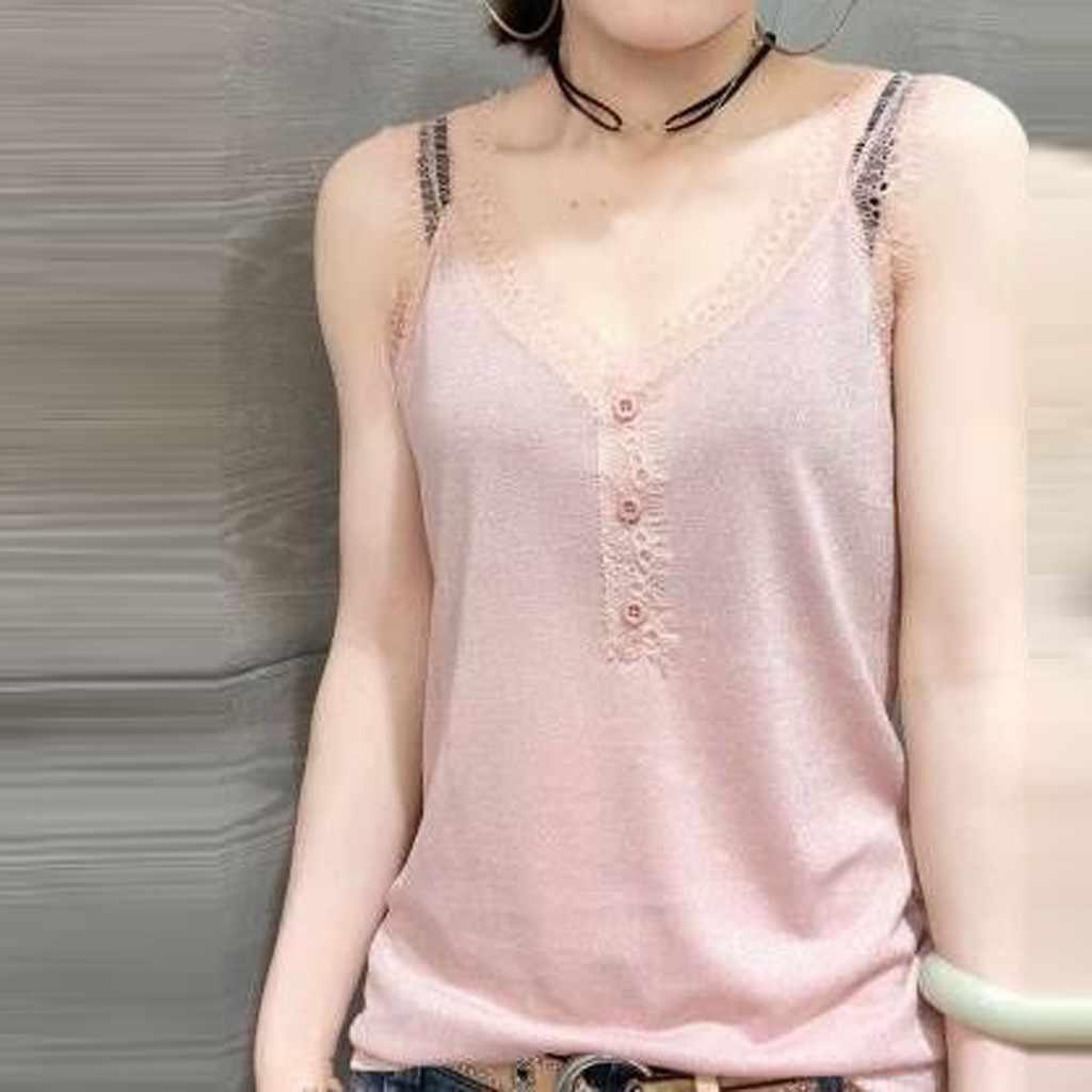 Blusas mujer de moda 2019 delle donne della camicia camicetta delle Donne di Modo Magliette e camicette di Pizzo Con Scollo A V KoreanVest Sexy Senza Maniche di Colore Puro Camicetta