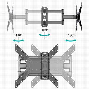 """Image 5 - Soporte de pared de TV giratorio inclinable para Monitor de pantalla plana LED de 26 50 """", VESA 400x400 con brazo de extensión articulado de movimiento completo"""