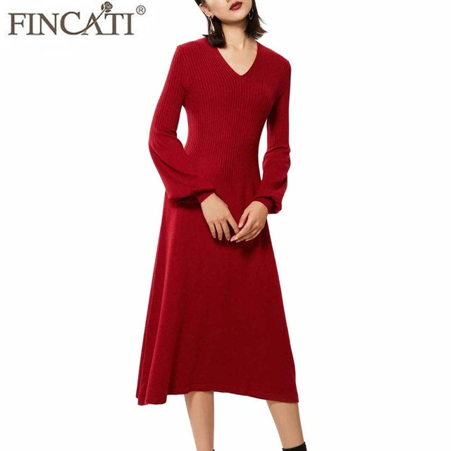 Spring Autumn Dresses Women 2018 Cashmere Blending Stripes Knitted V Neck  Lantern Sleeve Slim Midi Long Dress Vestidos de Festa 087cdff6ca57