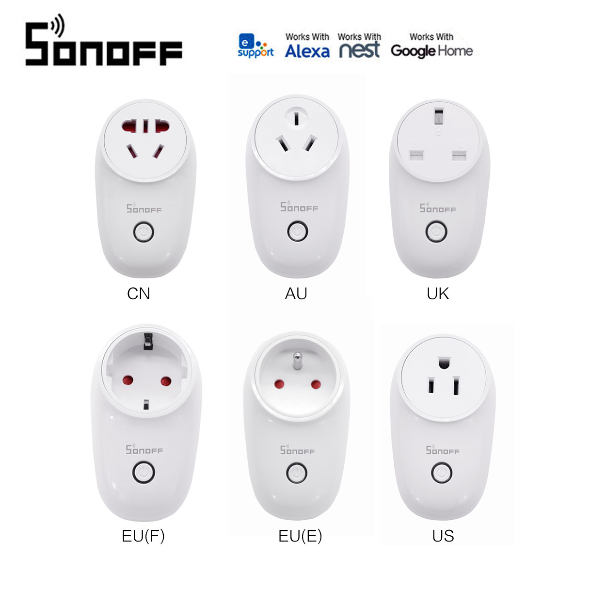 Sonoff S26 WiFi Smart Home Plug EU US UK CN AU Automation Kit Home Control Socket Switch Outlet Work With Alexa Google Home