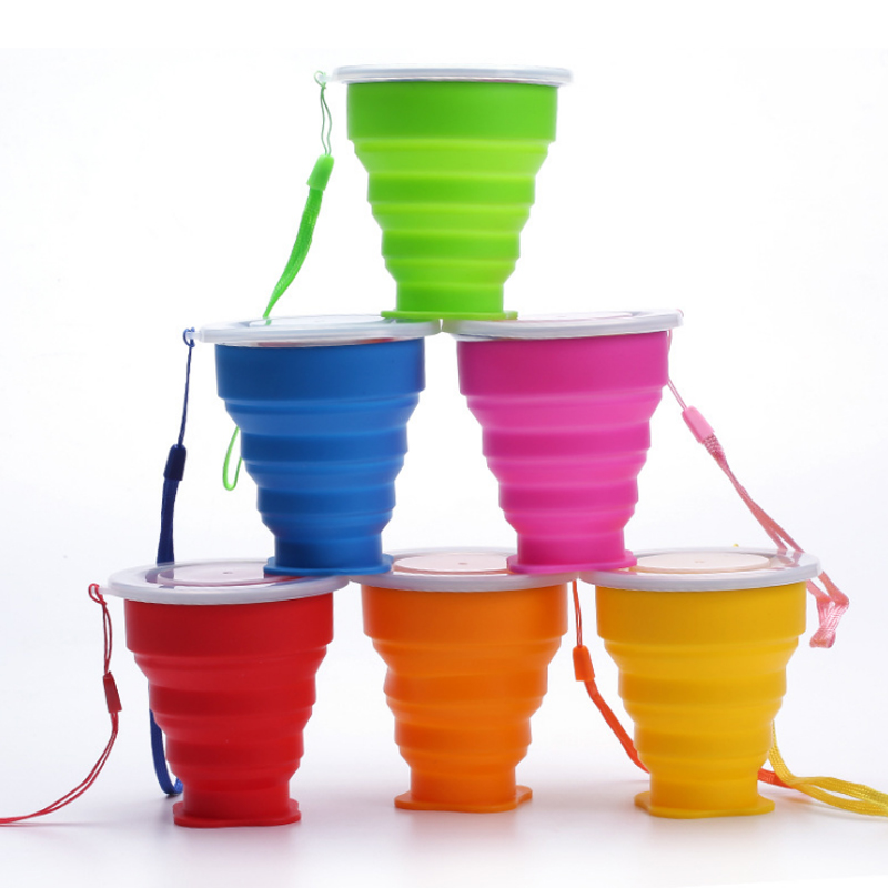 Outdoor portable folding water cup multi function creative water cup silica gel folding silicone folding cup folding cup holder