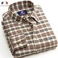 Langmeng 2016 100% de algodón de primavera otoño franela masculina camisas de los hombres de manga larga camisa de tela escocesa ocasional de la vendimia estilo camisas de vestir de marca