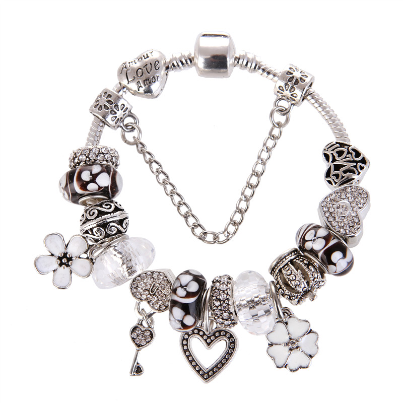 High Quality White crystal Heart flower Noble Pretty Charm Bracelet Pandora Bracelet For Women/Gril gift jewelry Drop Shipping