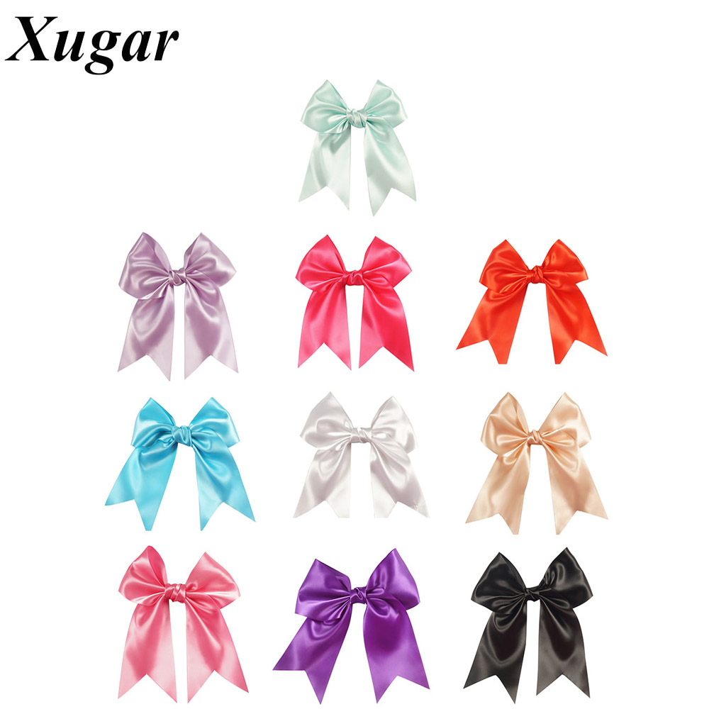 2 Pcs/lot 8.5'' Big Satin Ribbon Hair Bow Solid Cheer Bows Hair Clip Cheerleading Hair Accessories For Lovely Girls