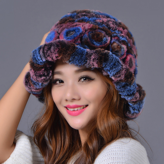 Sale 2016 winter beanies fur hat for women knitted rex Raccoon fur hat withDome top hats free size casual women's hat