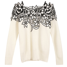 Latest Sexy Pullovers Female Early Spring 2017 Long Sleeve Starpless Hollow Out Black Beige Casual Pretty Pullovers