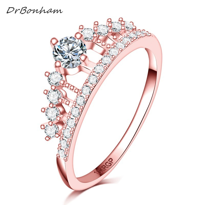 DrBonham full Clear AAAA zircon stone Princess Queen 18kRGP stamp rose gold filled Crown Ring wedding women girls anillo DR1719