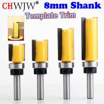 цена на 1PC 8mm Shank Template Trim Hinge Mortising Router Bit Straight end mill trimmer cleaning flush trim Tenon Cutter forWoodworking