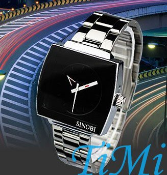 Fashion Choice New Black Stainless Steel Quartz Wrist Men's Watch UK54 C1097 stylish 8 led blue light digit stainless steel bracelet wrist watch black 1 cr2016