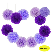 12pcs Set Pretty High Quality Manual Purple Blue Paper PomPom Tissue Flower Balls For Birthday Wedding