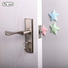 2PCS Wall Thickening Mute Fenders Door Wall Stick Starfish Modelling Rubber Handle Door Lock Protective Pad Home Wall Stickers(China)