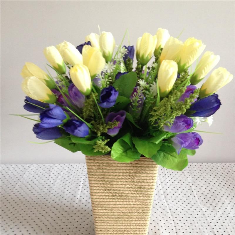 Seide Künstliche Blumen Tulip Hochzeit Hause Dekorative Blumen Hause Dekoration kunststoff blume Rustikalen pflanzen 2 teile/los Bouquet