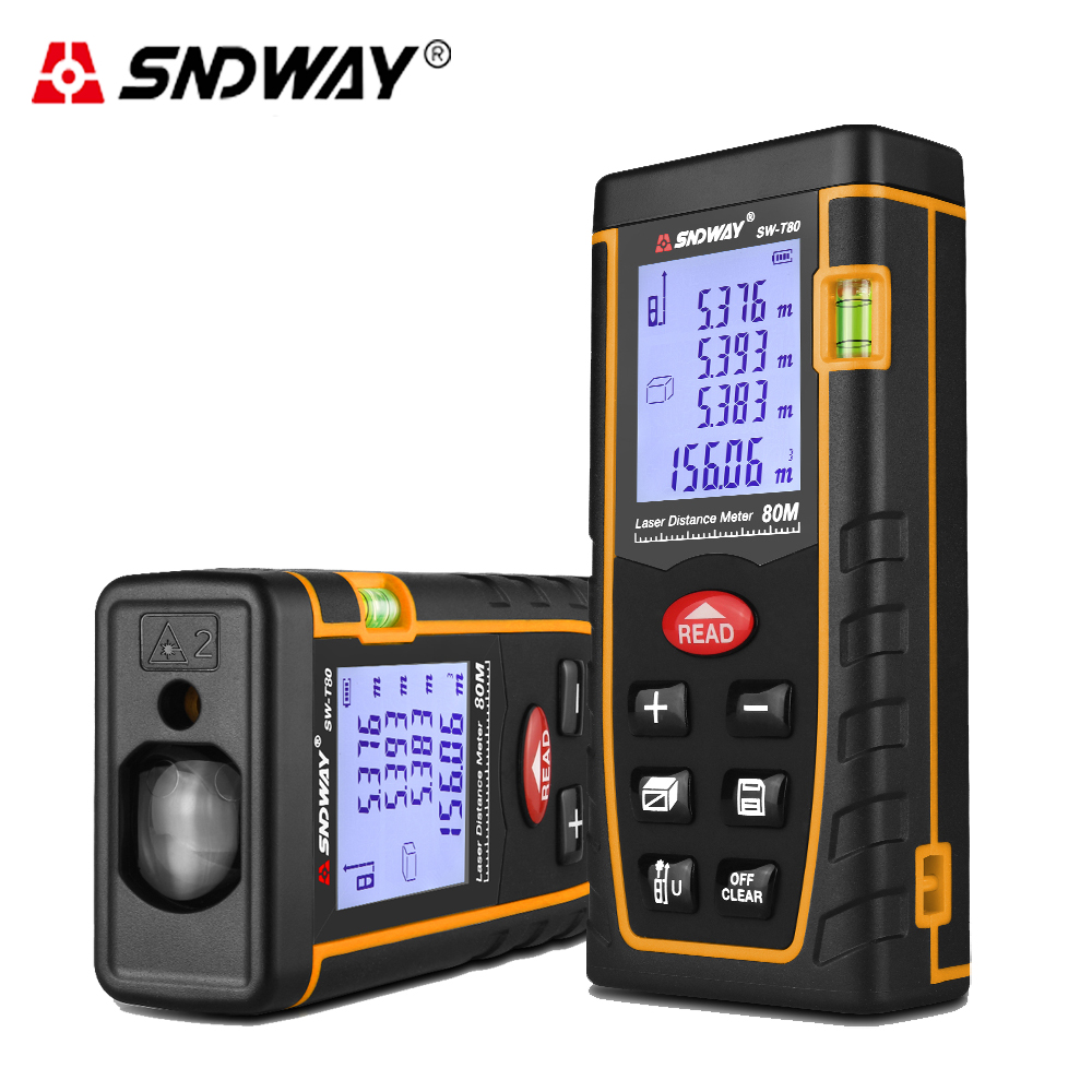 SNDWAY 80M laser distance meter rangefinder trena laser Bubble level range finder Area-volume-Angle tape Building measure Tool nf 2650 digital laser distance meter handheld laser rangefinder tape measure distance area volume in level tool lofting function