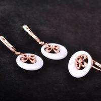 Exquisite Ceramic Bijuterias Earrings Rings Sets AAA Zircon Flower Dangle Earring Rose Gold Anneaux Porcelain Bijoux