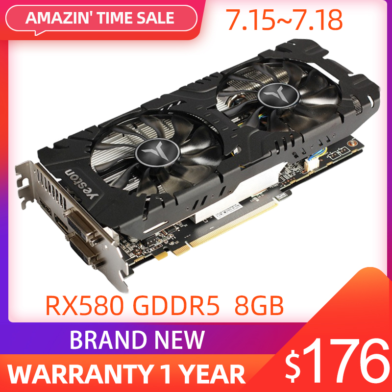 Yeston Radeon RX 580 GPU 8GB GDDR5 256bit Gaming Desktop computer PC Video Graphics Cards support