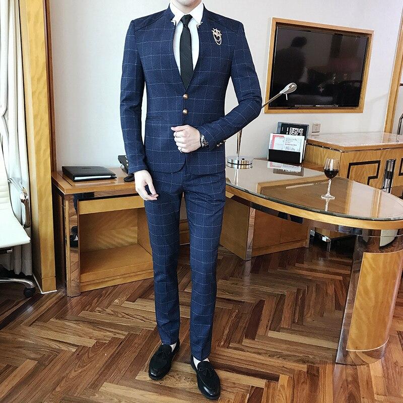 Mandarin Kragen Anzug Plaid Überprüfen Anzug Männlichen 2017 Chinesischen Kragen Anzug Business Casual Terno Slim Fit Schwarz Navy Hochzeit Dünne fit-in Anzüge aus Herrenbekleidung bei  Gruppe 3