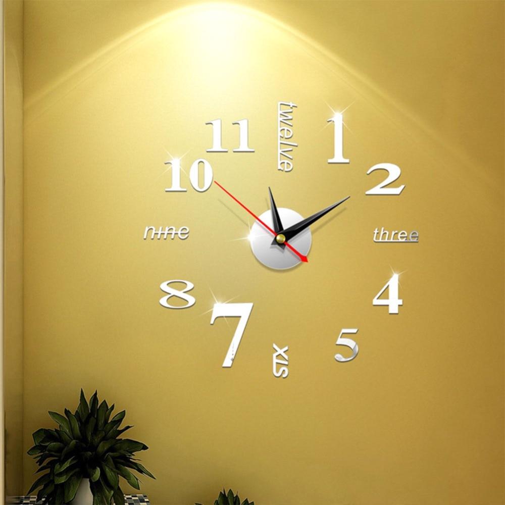 Aliexpress.com : Buy 3d real big wall clock rushed mirror wall ...