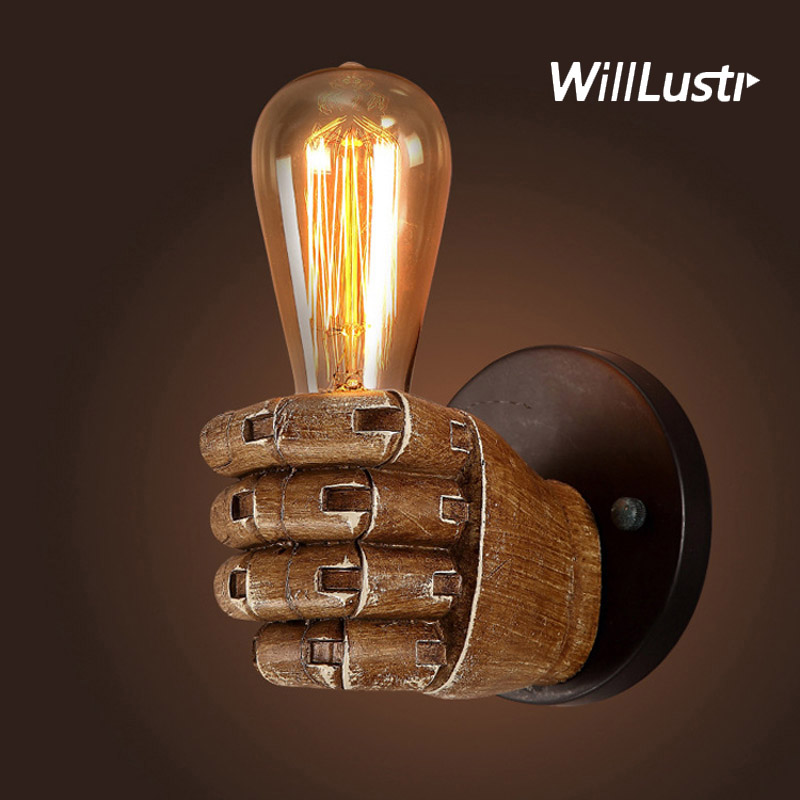 Retro Resin Fist Wall Sconce Antique Style Hand Lamp Sushi Shop Bar Cafe Bakery Hotel Restraurant Bedroom Loft Indusrial LightRetro Resin Fist Wall Sconce Antique Style Hand Lamp Sushi Shop Bar Cafe Bakery Hotel Restraurant Bedroom Loft Indusrial Light