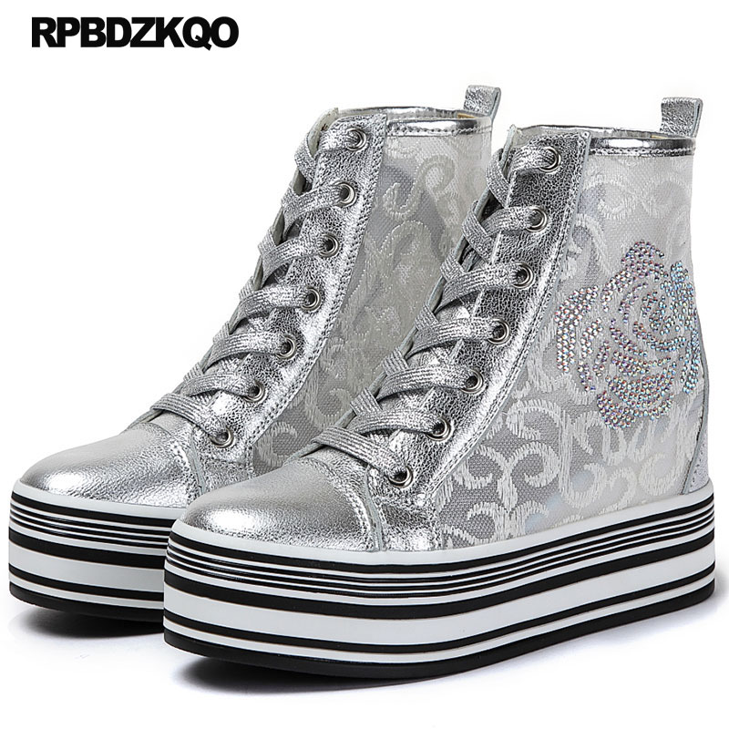 Breathable High Quality Hidden Elevator Top Diamond Sneakers Trainers Silver Creepers Platform Shoes Mesh Wedge Thick Sole WomenBreathable High Quality Hidden Elevator Top Diamond Sneakers Trainers Silver Creepers Platform Shoes Mesh Wedge Thick Sole Women