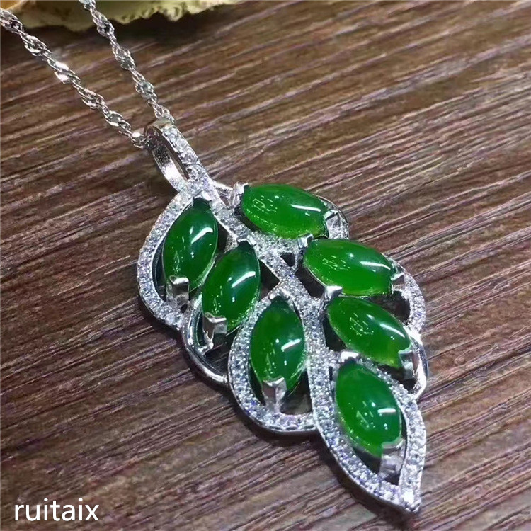 KJJEAXCMY boutique jewels S925 Pure silver inlay natural jasper female pendant + necklace jewelry gemstone plant leaves s925 pure silver personality female models new beeswax