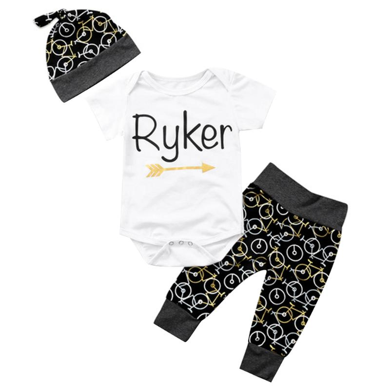 3pcs/Set Simple Infant Baby Letters Printed Short Sleeve Romper Hat Pants Outfits Set Cute Spring Toddler Clothes for Boy Girls