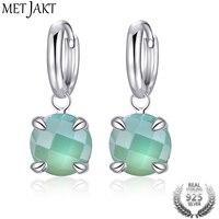 MetJakt Natural Drop Gemstone Chalcedony Elegant Fashion Classic 925 Sterling Silver Hook Earrings For Women S
