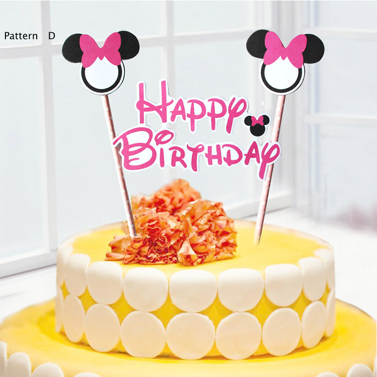 100pcs Mickey Mouse Theme Happy Birthday Cake Flags With Paper Straw