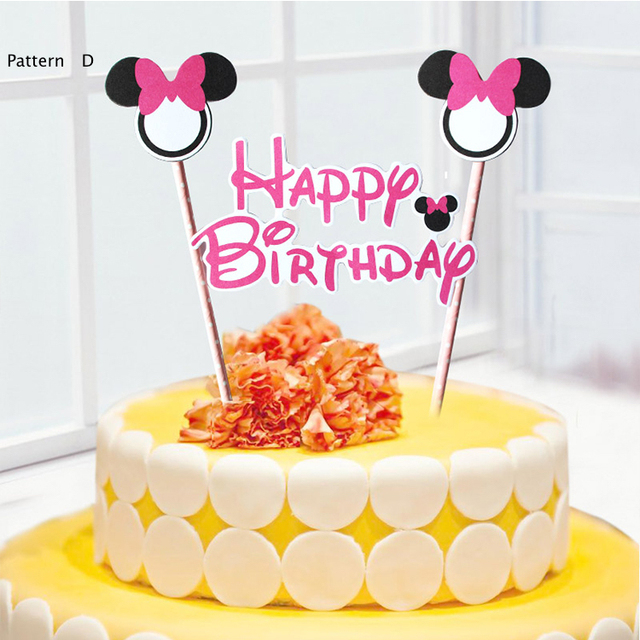100pcs Mickey Mouse Theme Happy Birthday Cake Flags With Paper Straw Cupcake Topper Accessories Party Supplies