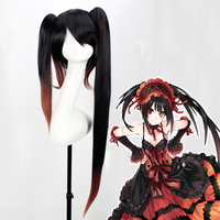 Anime DATE A LIVE Cosplay Wig Nightmare Tokisaki Kurumi Cosplay Wig Hair Long Black Straight Synthetic wig Bunches Ponytail girl