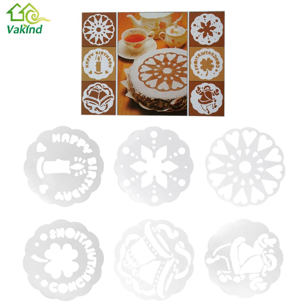 6 unids Cake Decor Plantilla Plantillas de Troqueles Moldes de La Magdalena de C