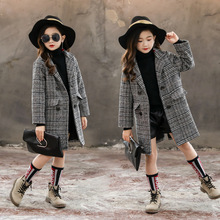 #Clearance# Girls Trench Coat Plaid Overcoat Girls Winter Coat Wool Jacket Outer