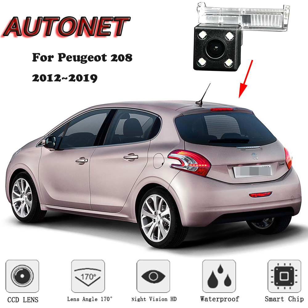 AUTONET HD Night Vision Backup Rear View Camera For Peugeot 208 2012 2013 2014 2015 2016 2017 Original Hole/license Plate Camera