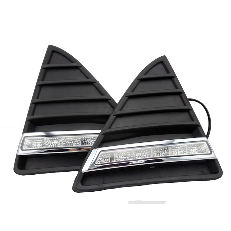 Free Shipping 2pcs/lot Daytime Running Light Auto DRL Car Styling 12v DC for Ford Focus with Amber Turn Light 1 pcs diy car styling new pu leather free punch with cup holder central armrest cover case for ford 2013 fiesta part accessories