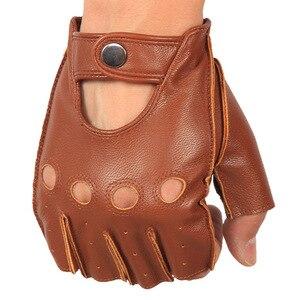 Image 2 - High Quality Mans Half Finger Gloves Breathable Non Slip Fitness Leather Fingerless Gloves Black Camel Driving Gloves Male NAN7