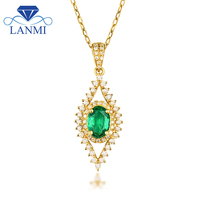Luxury Colombia Emerald Pendant Necklace 18K Yellow Gold Natural Diamond For Women Anniversary Fine Jewelry