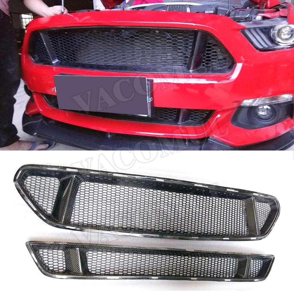 Настоящее углеродного волокна передний бампер автомобиля сетки решетка решетки для Ford Mustang 2015 2016 2017 стайлинга автомобилей